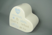 Baby Boy Blue and Cream Heart Money Bank Box - To Love Cherub and Adore thats what Little Boys are for!