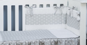 Vizaro - Cot Bed Bumper and Duvet Cover - 3 Pieces Set for COT BED - 100% Luxury Cotton - Little Stars Collection - White & Grey Colours - Tested against harmful substances - Made in EU