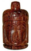 7.6cm Teak Wood Buddha Container w/Screw Top