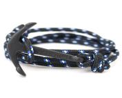 VIRGINSTONE Black Anchor Bracelets on Colourful Nylon Ropes