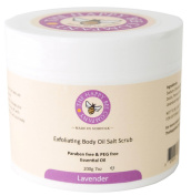 Lavender Body Salt Scrub - Contains Dead Sea Salt and Epsom Salts - Exfoliating, Softening and Smoothes skin - Reduces Ingrown Hairs, Blocked Pores - Improves Circulation and Evens Out Skin Tone