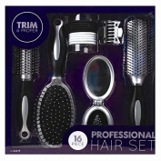 Invero® Professional 16 Piece Hair Care Kit Gift Set features Curling Brush Paddle Brush Styling Brush Butterfly Clips a Compact Brush Mirror and Hair Bands