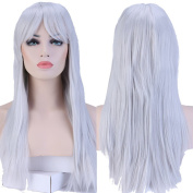 S-noilite New Fashion Women Long Straight Hair Full Wigs Cosplay Synthetic Thick UK Silvery Grey