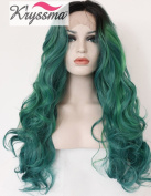 K'ryssma Beauty Ombre Green Synthetic Hair Highlights Wavy Wig Dark Roots Lace Front Wigs Half Hand Tied Heat Safe 60cm for Black Friday