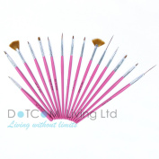 15 PCS Nail Art Gel Painting Drawing Dotting Pen Polish Tips Brush Set Pink Kit