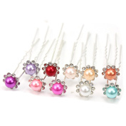 10pcs Prom wedding party Silver Plated rose Flower Crystal U Hair Pins Clips