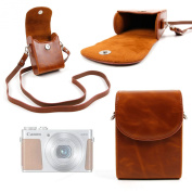 DURAGADGET Durable & Ultra-Portable, Retro-Inspired Compact Camera Case in 'Vintage' Brown for the Canon Powershot G5X, G9X, EOS M10, Powershot Ixus, Powershot N2 / S100 - with Adjustable Carry Strap & Belt Loop