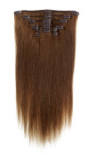 American Pride | Clip In Hair | Human Hair Extensions | Full Head | 60cm Light Brown