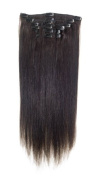 American Pride | Clip In Hair | Human Hair Extensions | Full Head | 60cm Barely Black