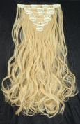"""S-noilite Full Head Clip in Hair Extensions 17""""(43cm) Curly Golden Mix Bleach Blonde"""