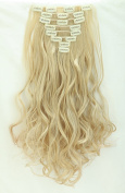 """S-noilite Full Head Clip in Hair Extensions 17""""(43cm) Curly Ash Blonde Mix Bleach Blonde"""