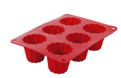 Crealys 513012 Mould for Canelé Pastries Silicone Red
