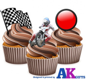 Speedway Cake Decorations - 12 Edible Wafer Cup Cake Toppers