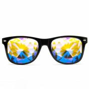 GloFX Ultimate Kaleidoscope Glasses - Black - Rainbow EDM Rave Light Diffraction Eyewear