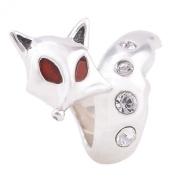 Genuine 925 Sterling Silver Fox Charm Bead - fits Pandora, Chamilia & Troll etc