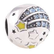 Shooting Star charm bead inscribed 'Reach for the Stars' - Genuine 925 Sterling Silver - fits Pandora, Chamilia & Troll etc