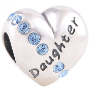Heart Shaped Daughter Charm Bead inscribed 'DAUGHTER' - Genuine 925 Sterling Silver - fits Pandora, Chamilia & Troll etc