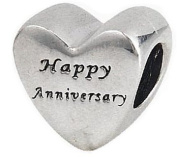 """Engraved """"Happy Anniversary"""" Heart Charm Bead - .925 Sterling Silver, Gold Plated NEW - Fits Pandora Chamilia etc European Charm Bracelet"""