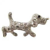 Silver Crystal Sausage Dog Brooch / Silver Dachshund Brooch / Dog Brooch