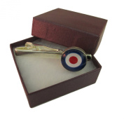 Handmade MOD Target Logo Design - RAF Themed - Silver Plated Round Tie Pin - Gift Boxed