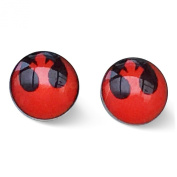 Stainless Steel 8mm Rebel Alliance Red and Black Stud Earrings. Movie Inspired Jewellery.