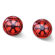 Movie Inspired Jewellery. Stainless Steel 8mm Galatic Republic Red and Black Stud Earrings