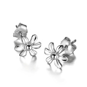 Acxico Six Petals Shape Little Flower 925 Sterling Silver Stud Earrings
