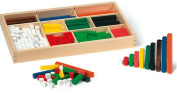 Traditional wooden Cuisenaire rods in storage tray