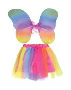 Fairy Wings + Tutu Set Costume for Fairytale Fancy Dress Outfit Kit Set . Rainbow