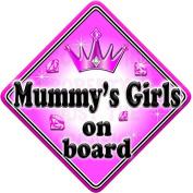 GEM JEWEL MUMMYS GIRLS Baby on Board Car Window Sign