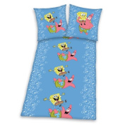 Herding SpongeBob SquarePants 467477050 Bed Sheet Set with 80x80 cm Pillow Cover and 200x135 cm Duvet Cover Beaverteen