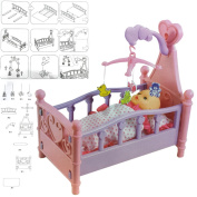 FunkyBuys® Large Dolls Pink/Purple Dream Bed Cradle Crib Cot Bed Toy Girls Toy w/ Mobile Acessories Best Xmas Gift