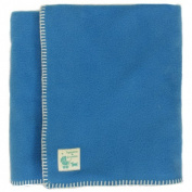 Tuppence and Crumble soft fleece Baby Blanket 100x145cm Cornflower with Cream Stitching