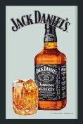 Empire Merchandising 537683 Printed Mirror with Plastic Frame with Wood Effect Featuring Jack Daniel's Whiskey Bottle 20 x 30 cm