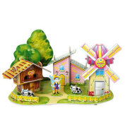 Intelligence Toys 3D Children Paper Jigsaw Puzzles Building Model Windmill