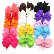 Tinksky 15 Colours 7.6cm Boutique Hair Bows Girls Kids Alligator Clip Grosgrain Ribbon Headbands Hair Clips