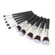 Fashion Base Professional 10PCS Black and Silver Makeup Brushes Set Eyeshadow Brush
