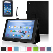 easyDigital® Amazon Fire 7 Tablet Case (2015 Oct Release) Cover (Only fit with Fire 7) Premium Slim PU Leather Folding Standing Protective Cover Case for Amazon Kindle Fire 7, 18cm inch 2015 model (Wi-Fi 8GB Model) (Black, Amazon Kindle Fire 7 ( ..