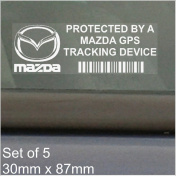5 x MAZDA GPS Tracking Device Security WINDOW Stickers 87x30mm-MX-5,MX-3,RX-8,RX-7,Car,Van Alarm Tracker