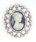 Polished Silver Colour Metal Cameo Style Brooch With Clear Crystals & Imitation Pearls