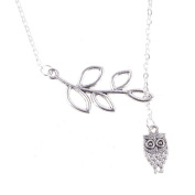 JaneDream Women Branch Leaves Owl Pendant with 55cm Adjustable Link Necklace