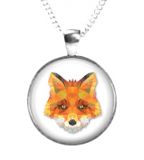 FOX - Glass Picture Pendant on Chain - Silver Plated