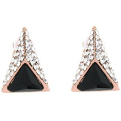 Clip On Earrings Store Gold & Black Stone and Crystal Pyramid Clip On Earrings