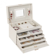 Large Jewellery Box with 4 leg sections and Lock in White