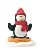 Christmas Cake Decoration Topper Claydough Snowboarding Penguin 48mm