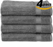 ROHI Towels Premium 100% Cotton Hand Towels, Easy Care, Ringspun Cotton for Maximum Softness and Absorbency, 4-Pack - Grey