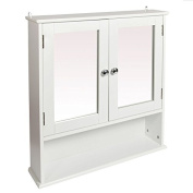 Woodluv Wall Mounted Mirror Cabinet Bathroom Storage Furniture - Double Shutted Door