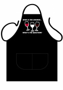 ICONIC APRONS MENS NOVELTY APRON,BLACK,WINE IS THE ANSWER FRONT PRINT, COOKING APRON,BAKEWARE APRON,BBQ APRON