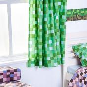 Green Pixels Design 170cm x 180cm Ready Made Tape Top Curtain Pair