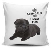 Keep Calm And Hug A Pug Black Cushion Cover